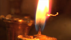 Candle in the church, close-up Stock Footage