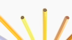 Stock Video Footage of Bottom of color pencils turning