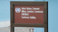 DMZ Panmunjon North Korean border  United Nation Command Military sign Stock Footage