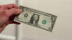 Dollar bill set on fire Stock Footage