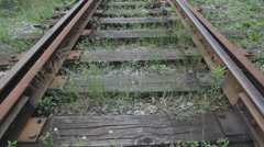 Train track with weeds. Stock Footage
