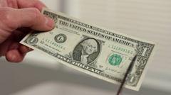 Dollar bill being cut into smaller pieces - stock footage