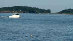 Lobster Boat in a Bay in Maine Stock Footage