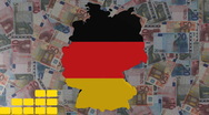Graph with Germany map flag with euros animation Stock Footage
