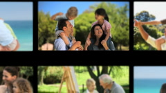 Montage of children having fun with their parents and grandparents - stock footage