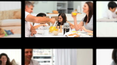Montage of children having fun with their parents - stock footage