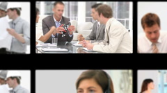 Montage of professionals exchanging ideas Stock Footage