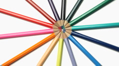 Stock Video Footage of Color pencils joined at the top rotating