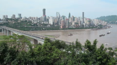 Chongqing skyline & bridge Stock Footage