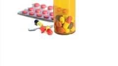 Pills and pill box rotating Stock Footage