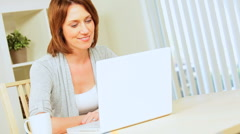 Relaxed Young Girl Using Internet Webchat Stock Footage