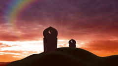 Islamic cemetery at sunset - stock footage