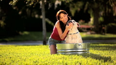 Family Bulldog Grooming Stock Footage