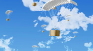 Parachute with box Stock Footage