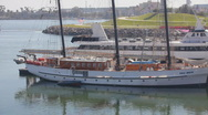 Stock Video Footage of Long Beach Harbor 3 mast schooner wide zoom