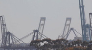 Stock Video Footage of Port of Long Beach shipyard container cranes - telephoto