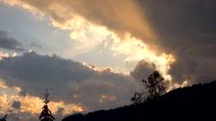 Sunset rays cloud timelape Stock Footage