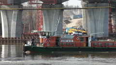 Barge at Bridge Construction Site Stock Footage