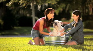 Stock Video Footage of Young Mother & Daughter Bathing Family Bulldog
