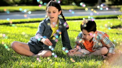 Childhood Fun Soap Bubbles - stock footage