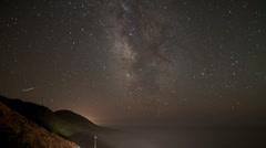 Starlapse over coastal highway Stock Footage
