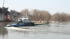 Barge on the river Stock Footage