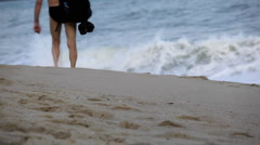 Man walking on Lamai Beach in Ko Samui Island, Amazing Thailand, Big Waves Stock Footage