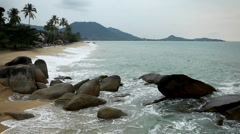 Tropical Paradise Island, Ko Samui, Amazing Thailand, Granitic  Rocks, Big Waves - stock footage