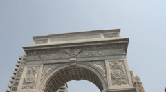 Washington Square Park Arch (pan down) - stock footage