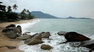Stock Video Footage of Tropical Paradise Island, Ko Samui, Amazing Thailand, Granitic  Rocks, Big Waves