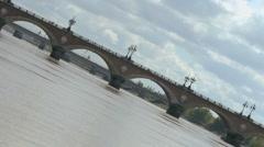 Pont de Pierre vu du fleuve 1 Stock Footage