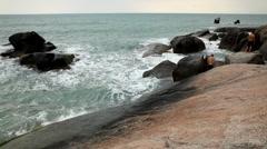 Big Boys, Teen Playing on Big Granitic  Rocks, Big Waves, Ko Samui, Thailand Stock Footage