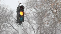 Snowy Stoplight 2 Stock Footage