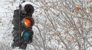 Stock Video Footage of Snowy Stoplight Tight