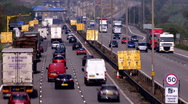 Stock Video Footage of Traffic on the M1-M6 Motorway junction dual carriageway. Time lapse.