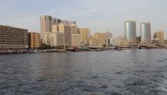 Dubai Creek Seen From Boat Stock Footage