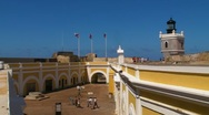 Puerto Rico - El Morro Fortress - People on Upper Main Inner Patio Stock Footage