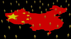 China map flag with many people animation Stock Footage