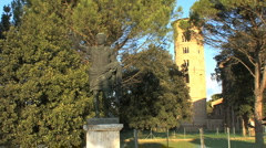 Italy emperor statue and tower in Classe  Stock Footage