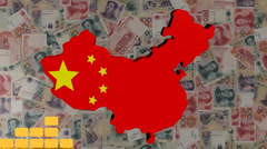 Graph with China map flag with Yuan animation Stock Footage