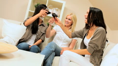 Girls Get Together Drinking Wine Stock Footage