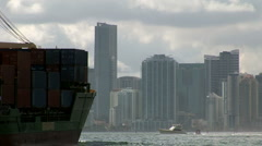Ship enter in Port of Miami Stock Footage