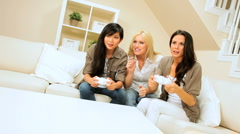 Trio of Multi-Ethnic Friends with Electronic Games - stock footage