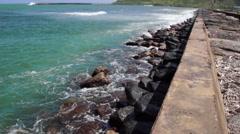 Ocean Front Levee Stock Footage