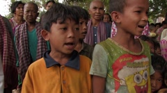 Cambodia: Children Sing National Anthem - stock footage