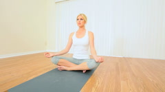Blonde Girl in Yoga Class Stock Footage