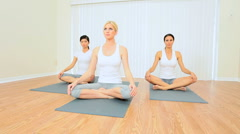 Yoga Group of Multi-Ethnic Females Stock Footage