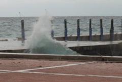 Hurricane Waves Pound Dock (NTSC) - stock footage