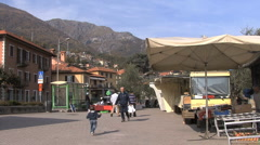 Italy Market and little boy running Stock Footage