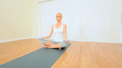 Blonde Girl at Fitness Studio Stock Footage